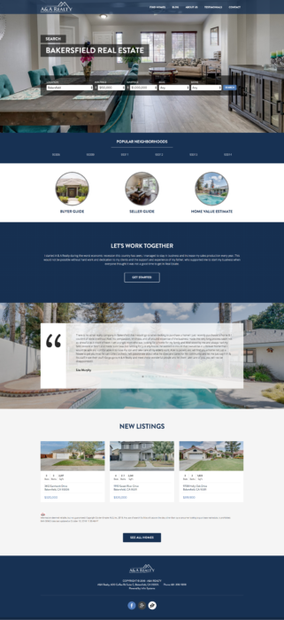 website-design-aandarealty-homepage