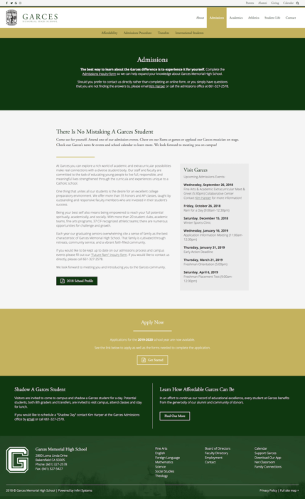 website-design-garces-admissions