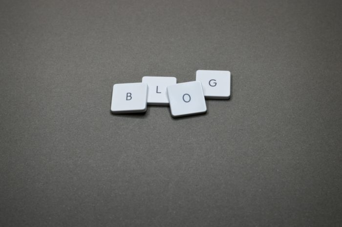 """The word """"blog"""" spelled out by Scrabble letter blocks"""