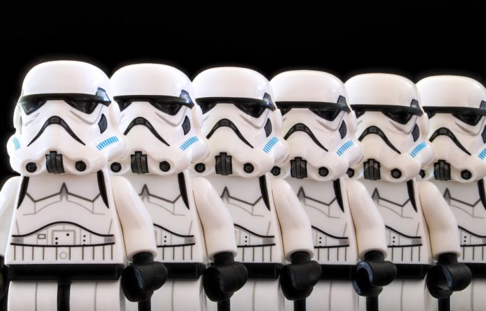 a row of Lego stormtroopers